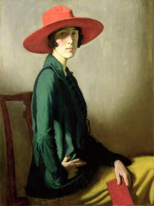 GLS219806 Lady with a Red Hat (oil on canvas) by Strang, William (1859-1921); 102.9x77.5 cm; Art Gallery and Museum, Kelvingrove, Glasgow, Scotland; (add.info.: portrait of Vita Sackville-West (1892-1962) poet, novelist and gardener; created the gardens at Sissinghurst Castle, Kent, England; wife of Harold Nicholson (1886-1968) diplomat, author and politician); © Culture and Sport Glasgow (Museums); Scottish, out of copyright